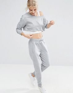 Buy Gray Asos Joggers for woman at best price. Compare Trousers prices from online stores like Asos - Wossel United States Asos, Sporty Chic, Sweatpants Outfit, Gray Sweatpants, Jogger Sweatpants, Grey Joggers, Joggers Womens, Clothes For Sale, Sport Outfits