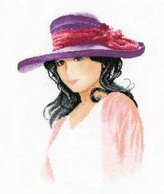 Jessica Cross Stitch Kit - £27.25 on Past Impressions. | Draped in light colours and a striking violet hat, the dark-haired Jessica serves as the summer yearning model of this portrait cross stitch kit by Heritage crafts.