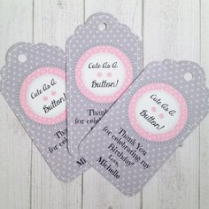 10 - Cute As A Button Personalized Party Favor Gift Tags Birthday Party Favor Cute As A Button Party Supplies Cute As A Button Baby Shower by MichelleAndCompany on Etsy