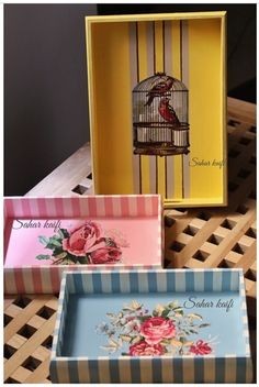 Decoupage Craft Projects, Projects To Try, Diy And Crafts, Paper Crafts, Merian, Decoupage Box, Painted Trays, Shabby Chic Crafts, Box Design
