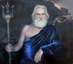 """It's Hard To Believe That These Portraits Are Not Photographs    """"Poseidón"""" (""""Poseidon"""") — A portrait of the Greek god Poseidon posing with his trident. ~1eyeJACK~"""