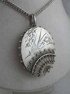 Stunning Antique Victorian Aesthetic Silver 'Fan' Locket & Chain Set from blackwicks on Ruby Lane
