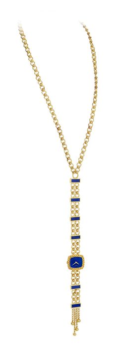 Necklace watch convertible into a wristwatch and necklace in yellow gold set with lapis lazuli dial from 1970