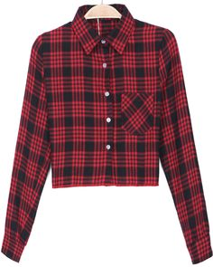 Red Lapel Long Sleeve Plaid Crop Blouse - Sheinside.com