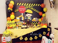 Little Red Balloon – Construction Themed Party – Little Red Balloon Singapore Construction Theme Cake, Construction Party Decorations, Construction Birthday Parties, First Birthday Party Themes, Birthday Party Tables, Birthday Party Decorations, Birthday Banners, Farm Birthday, Birthday Invitations