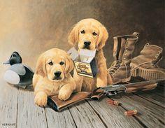 773a8752bfac5 Lynn Katz Golden Memories Retriever Dogs Puppies with Shotgun Tin Sign