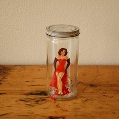 Vintage Hazel Atlas Jar Tall Hazel Atlas Covered Jar Apothecary Jar Candy Jar Vintage Bombshell Girl Decal from The Eclectic Interior
