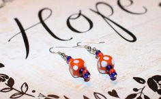 Orange, White and Blue Earrings by APromisedHope on Etsy