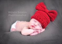 Red Crochet Baby Beanie Hat with Bow Newborn to by amydeming1, $13.50