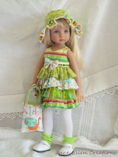 "13"" Effner Little Darling BJD citrus kitty fluff dress OOAK handmade by JEC #ClothingAccessories"