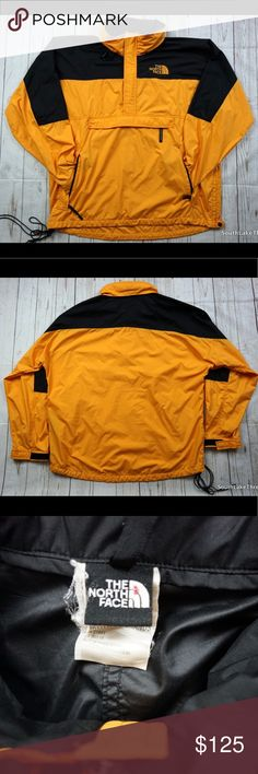 "Vtg North Face 1/4 Black Yellow Windbreaker XL Rare Vintage North Face Windbreaker 1/4 Zip Jacket. Men's XL in mint shape and a rare Black and Yellow colorway. Stow Pocket Gore Tex. Ships in 1 day or less! Measures: Sleeve: 34.5"" inches • Chest: 31.5"" inches • Length: 32.5"" inches. North Face Jackets & Coats Performance Jackets"