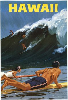 Hawaii. A vintage Hawaii travel poster showing surfers with a large wave. Circa 1950s.