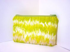 Small Zipper Pouch  Green Waves by handjstarcreations on Etsy, $8.50