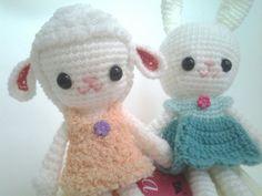 Amigurumi+bunny+or+lamb+girl++crochet+dolls++ready+to+by+thujashop,+$19.00