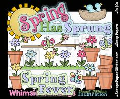 Spring Has Sprung Clip Art - Commercial Use, Digital Image, Png, Clipart - Instant Download - Spring, Garden, Flowers, Flower Pot, Blue Bird by ResellerClipArt on Etsy
