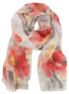Daria Watercolour Floral Scarf CORAL    $24.95  Light weight watercolour floral print scarf in coral, yellow and grey. Length: 172cm Width: 67cm Polyester    Item Code: 044661