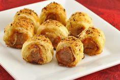 Pastry-Wrapped Sausage Bites: Italian turkey sausage flavored with a bit of balsamic vinegar and wrapped in puff pastry makes an easy and flavorful appetizer or snack.