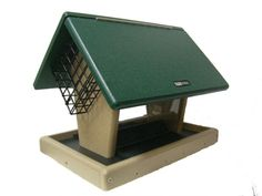 Recycled 7 Quart 2-Sided Hopper W/2 Angled Suet Cages | Birds Choice