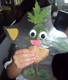 Activity of Leaf Man, gather up some colorful leaves,  discuss what a leaf person/ creature would need....a head, feet, arms, etc. lay out on contact paper. When finished, cover the leaf man with another sheet of contact paper and cut him out.  Then glue on eyes and a mouth.