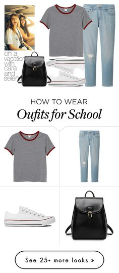 """on a vacation with cara and selena"" by julianamacasaya on Polyvore featuring Uniqlo, Monki and Converse"