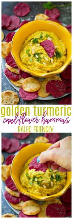 This golden turmeric cauliflower hummus is an easy, tasty paleo, vegan and gluten-free dip that's made with wholesome ingredients. It works great as a snack or appetizer and it's ready in 10 minutes! @krogerco #TrySomeTHINGood #AD