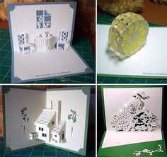 Why settle for a plain Jane Hallmark greeting card when you can put a little of your own effort (aka blood, sweat and undoubtedly a few tears) into making your own greeting cards. Kirigami Patterns, Kirigami Templates, Origami And Kirigami, Card Patterns, Card Templates, Oragami, Kirigami Tutorial, Doll Patterns, Pop Up Art