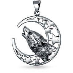 Howling Wolf Moon Pendant 925 Silver ($50) ❤ liked on Polyvore featuring jewelry, pendants, theme jewelry, silver star charm, wolf pendant, antique silver charms, silver jewelry and star pendant