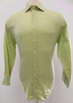 Etro Milano Shirt Men Green Sz 44 Solid Diagonal Weave Italy Mens LIME Cotton XL #Etro