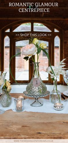 Glass Decanter Vases For Wedding Centrepieces – SHOP THIS LOOK - available from www.theweddingofmydreams.co.uk @theweddingomd