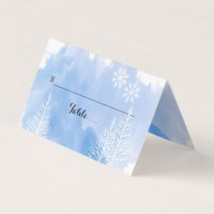 Blue watercolor & trees winter wedding escort card - winter wedding cyo marriage wedding party gift idea