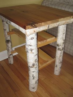 DIY Idea; Handmade Birch log table/night stand/coffee by BirchwoodFurniture on Etsy. Lovely add to the Birch Bed Idea ;-D