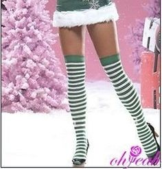 Green And White Striped High Knee Cotton Stocking S90017(China (Mainland))