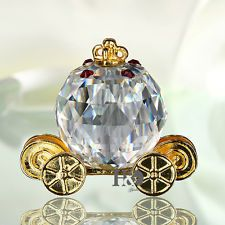 Pumpkin Carriage Crystal Animal Figurines Ornament Collectibles...