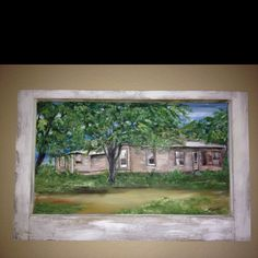I did a similar painting for my niece using a window from their old house and painting the old house on it.  Very cool way to remember your old home.