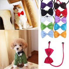 awesome 2pcs Fashion Dog Cat Pet Puppy Toys Kids Cute Bow Tie Necktie Collar Clothes New