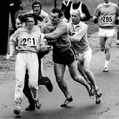 In 1967, Kathrine Switzer was the first woman to run the #BostonMarathon, finishing even after officials tried to drag her out of the race. #FeministInspiration