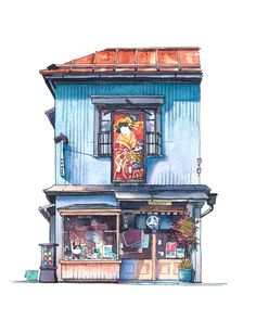 "Sixth shop portrayed in the ""Tokyo Storefront"" series. I found this one during my walks in the Yanaka district which is a famous spot in Tokyo for old buildings. This shop catches the eye instantly with the colourful print above the door.  It actually is a traditional colour woodblock print store selling mainly paper prints traditionally used for paper dolls and toys. I did the portrait part without an underdrawing so it differs a little bit from the original picture but I like how it…"