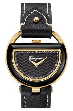 Salvatore+Ferragamo+'Buckle'+Leather+Strap+Watch,+37mm+available+at+#Nordstrom