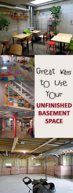 Great ideas for unfinished basement space. Great ways to use and organize your unfinished basement space.
