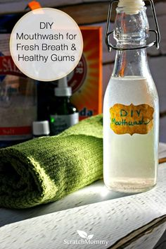 Ditch the toxic mouthwash for this easy peasy DIY mouthwash for fresh breath and healthy gums. Made with a few simple ingredients, you can whip it up in a minute.