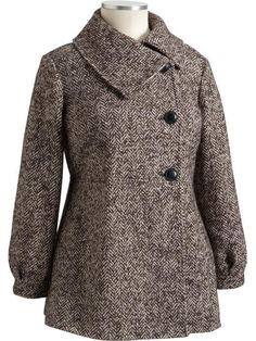 This coat is a 2X size from Old Navy Plus Size. It has all the buttons and looks stylish. It is a Peacoat with Houndstooth Design. I have a large chest and it was a little hard to button up when i tried it on but i didn't force it. I'm a 44DD. Paid $200ish with tax last year for this coat