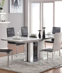 Dining Room : Cool dining room set with white black gloss extendable dining table feature black sleek dining chair combine iron frame and chrome legs also white area rug - Awesome White Dining Room set for Inspirations