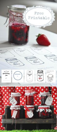 DIY - Jelly / Jam PDF Printable Labels.