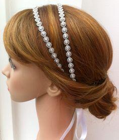 BRIDAL  Double Mini Circle Rhinestone Headband by HouseOfGlitter2, $42.00