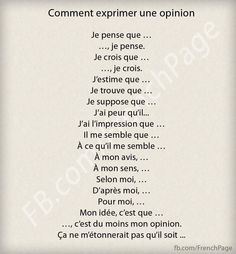 French expressions of opinion French Language Lessons, French Language Learning, French Lessons, French Phrases, French Words, French Quotes, Study French, Core French, French Expressions