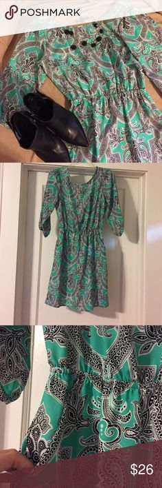 Mosaic Print Boutique Dress  Green (almost a mint color), Black and White Patterned Dress, in a size Small. Scoop Back, Cinched Waist and Pockets. 100% Polyester, measurements to come later! Fab'rik Dresses Mini