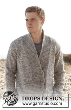 """Free pattern: Knitted DROPS men's jacket with shawl collar in 2 strands """"Fabel"""". Size: S to XXXL. ~ #DROPSDesign #Garnstudio"""