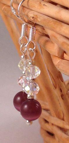 Cats eye & crystal drop earrings