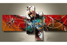 Hand Oil Painting | 4 Panels Luxury Pure Hand-painted Modern Canvas Oil Painting #OilPaintingRed