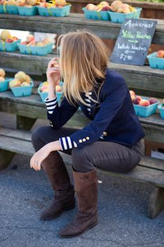 navy blazer, striped top, gray skinnies, brown boots